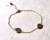 Monogram Gold Charm Bracelet - Personalized Letter Two Charm Bracelet - Gemstone Charm