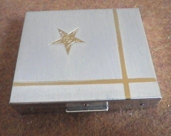 Ladies Bi Tone Silver Gold Metal Star Compact