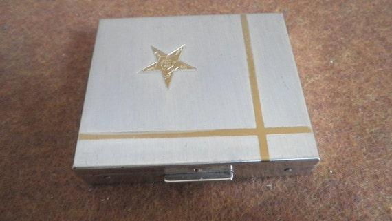 Ladies Bi Tone Silver Gold Metal Star Compact