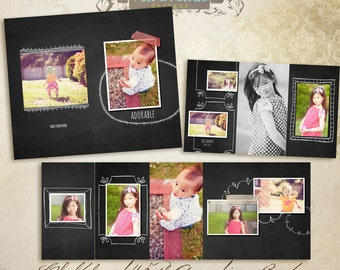 Chalkboard 4.5x8 Accordion book templates for photographers