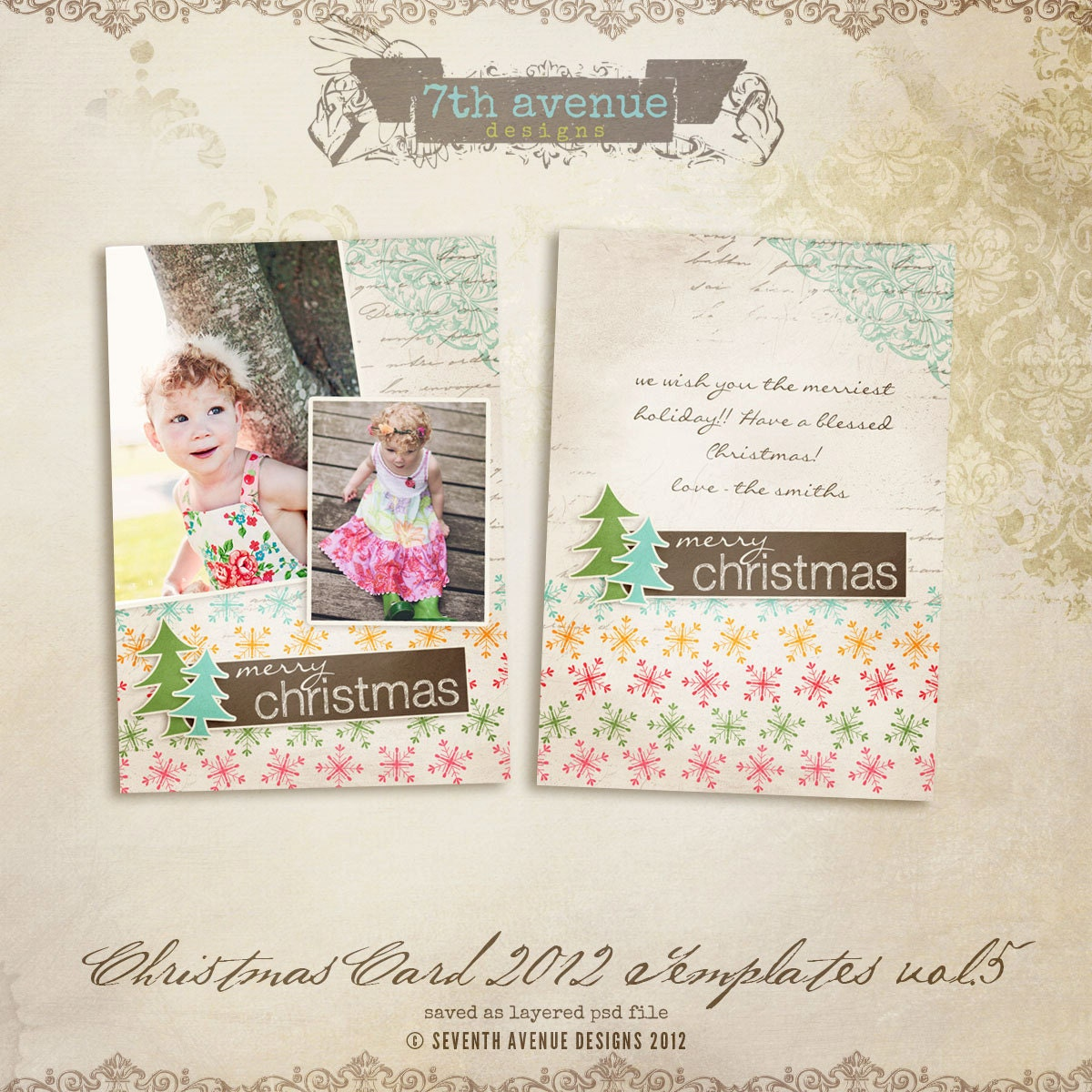 2012 christmas card templates vol 5 5x7 inch by 7thavenuedesigns. Black Bedroom Furniture Sets. Home Design Ideas