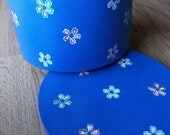 Large Periwinkle with White, Purple, Blue and Green Flowers Hat Box - RESERVED For CHRISTY BELL