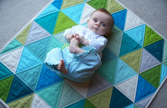 On SALE Modern Triangle Baby Quilt in Aqua Blues, Turquoise, Greens & Neutrals w/ FREE U.S Shipping