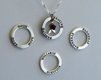 Strength- Survivor - Hope - Believe - Custom Sickle Cell Anemia, Multiple Myeloma Awareness Inspirational Necklace - Sterling Silver