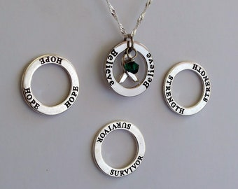 Strength- Survivor - Hope - Believe - Custom Mitochondrial, Bipolar Disorder, Glaucoma Awareness Inspirational Necklace - Sterling Silver