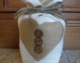 Cream Cotton Fabric Door Stop With Hessian Heart Applique and Wooden Buttons