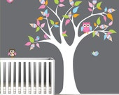 Vinyl Wall Decal Tree with Owls Birds- Nursery Children Wall Decals
