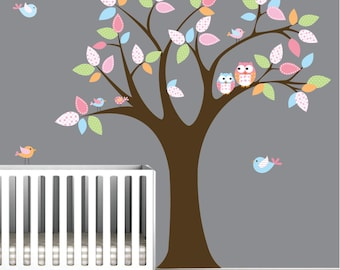 Childrens Vinyl Wall Decals-Tree with Owls birds-Nursery Wall Decals