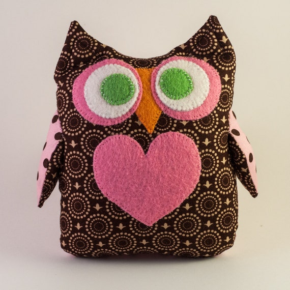 Owl Soft Toy - Brown and Pink Polka Dots
