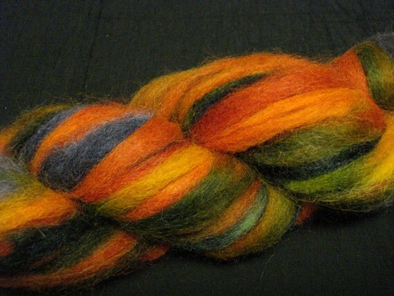 Hand Painted Alpaca Roving in Orange, Red, Green and Blues