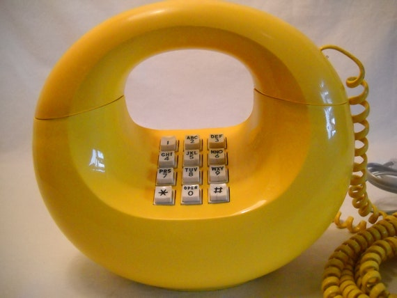 Vintage Donut Push Button Phone Canary Yellow