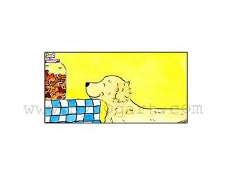 Whimsical Golden Retreiver  Treats  print 5x7