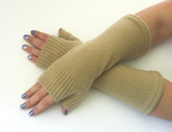Cashmere Fingerless Gloves - Camel / Khaki Texting Gloves - Wrist Warmers : Upcycled Recycled Repurposed