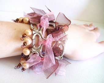 Stretch cuff bracelet made with Pink and Brown Ribbons/beads stretchable cuff