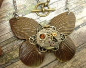 Steampunk Brass Ox Butterfly Necklace - Wittnauer Watch Movement  One-of-a-Kind