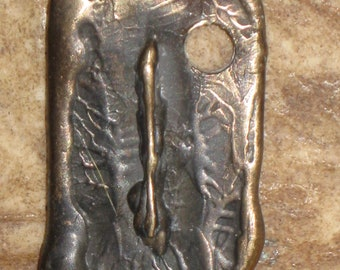 RUNES.Elder Futhark Bronze Rune Pendant of Challenge ISA. Sterling Silver Rune Pendant.Organic Texture.Magical Rune.Magical Amulet.Viking