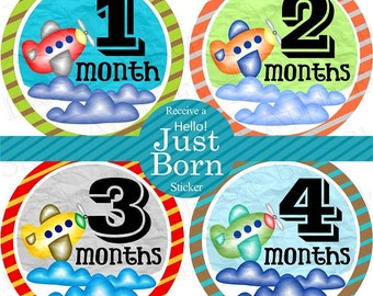 ON SALE Baby Monthly Stickers PLUS Just Born (1st Year Cute Airplane) green.blue.black.grey. Bodysuit, Milestone, Photo Prop, Shower Gift.