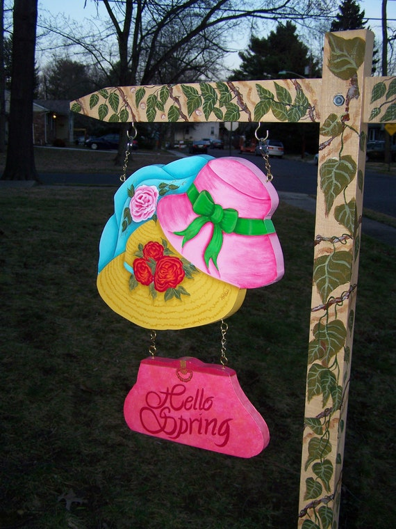 Garden Yard Art Lawn Ornament  Hand Painted Art Sign  -2 piece 2 sided wooden lawn ornament for Spring Mothers Day Summer