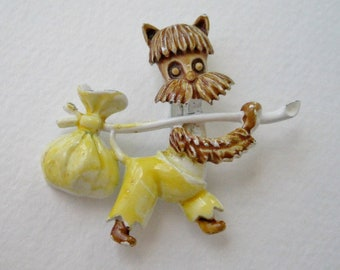 Vintage Enamel Brown Shaggy Terrier Scotty Dog Yellow White Nap Sack Runaway Lonesome Brooch Pin