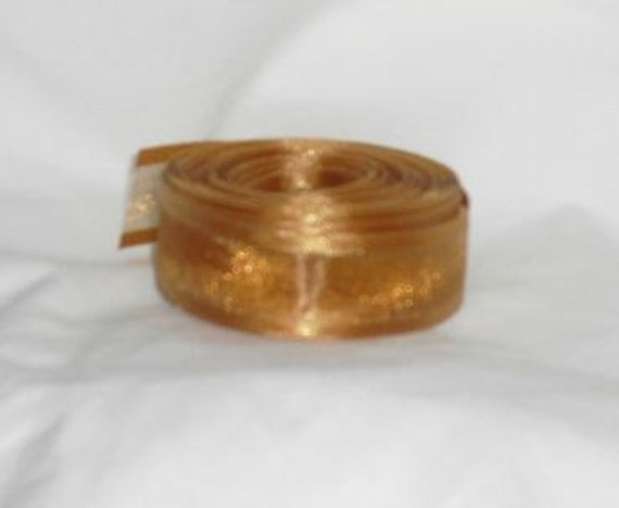 "Destash Copper Sheer Ribbon...1"" X  11 yards"
