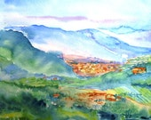 Tuscan Vista from Montecatini Alta -  Original Watercolour painting  -SALE