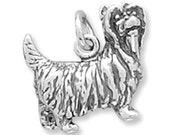 SALE Yorkshire Terrier Dog 3d Yorkie Charm Pendant Sterling Silver