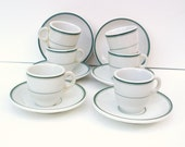 Vintage Espresso, Demitasse Coffee Cups and Saucers, Hotelware White with Green Stripes