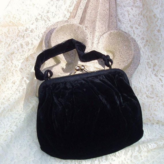 Velvet Handbags   Black Velvet Purse   Evening Purse  Evening Glamour