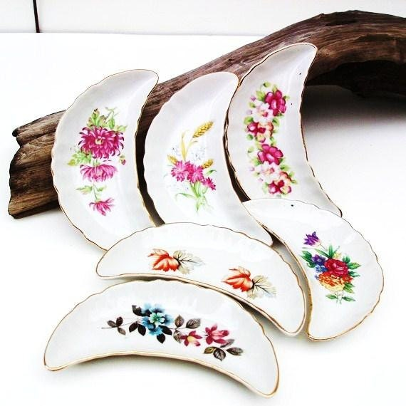 Bone Dishes, Transferware, Floral Plates, Pottery Dinnerware, Side Dishes  Crescent Moon / Blue, Pink, Yellow, Orange