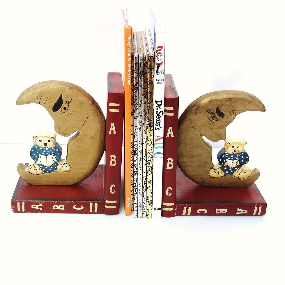 Kids Bookends Wooden Book Ends Abc Nursery Decor Moon