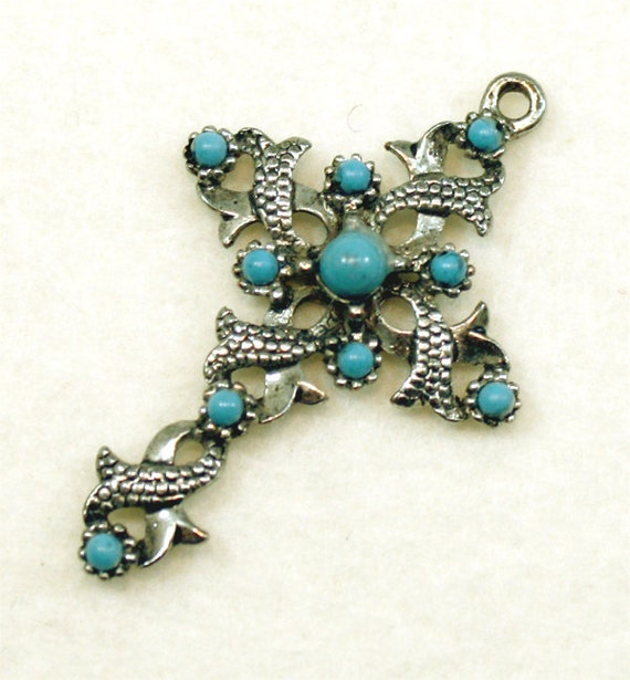 Vintage Cross Necklace Pendant Celtic Religious Catholic Christian Vintage Turquoise Jewelry Jewellery