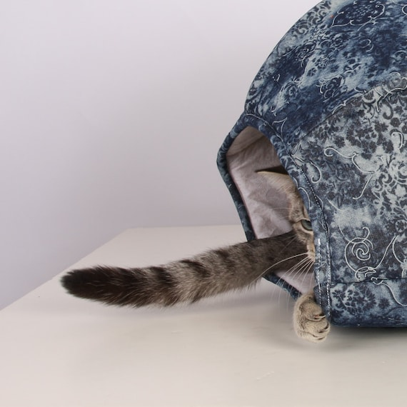 Cat Ball Modern Kitty Cave Bed in Repurposed Denim