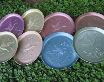Vintage Colored Flying Duck Aluminum Coasters, Set of 8