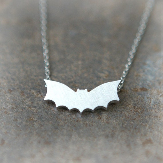 Flying Bat necklace in silver