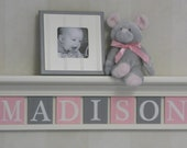 Pink and Gray Nursery Girl Wall Decor Linen (Off White) or Bright White Shelf - Sign with Wood Block Letters Custom for Baby Girl