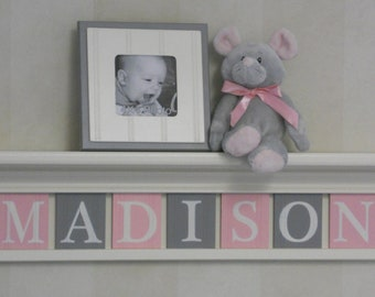 Pink and Gray Nursery Girl Wall Decor Linen (Off White) or Bright White Shelf - Sign with Light Pink / Grey Wood Block Letters - Custom Gift