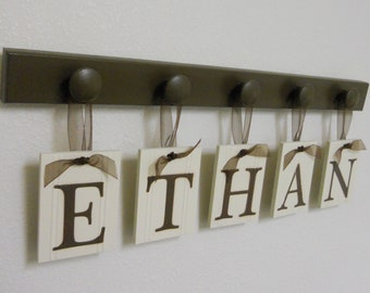 Baby Boy Room Decorations - Nursery Wall Decor Personalized for ETHAN Set Includes 5 Wooden Pegs Brown