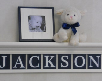 Navy Nursery Wall Shelving - Baby Boy Nursery Wall Art - Bright or Off White Shelf Painted Wall Tile Letters in Navy Blue