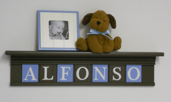 """Blue and Brown Nursery Art Children Name Nursery Decor 30"""" Shelf Sign 7 Wooden Letters Personalized for ALFONSO"""