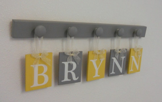 Yellow Grey Nursery Wooden Wall Letters Sign Set Includes 5 Wooden Pegs in Yellow and Gray. Personalized Hanging Ribbon Letters for BRYNN