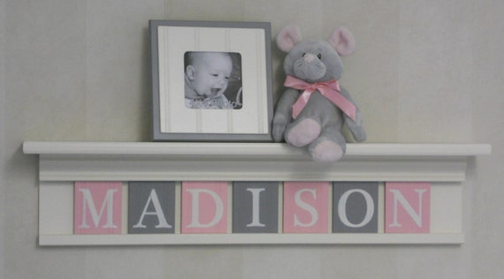 Personalized Nursery Girl Wall Decor Bright White Shelf And - Pink and grey nursery decor