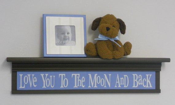 """Brown Blue Nursery Decor - Baby Boy Wall Decor Soft Pastel Colors Baby Blue on 30"""" Brown Shelf - Love You To The Moon And Back"""