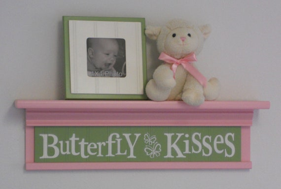 Pink And Green Wall Decor For Nursery : Nursery shelves pink and green children wall art