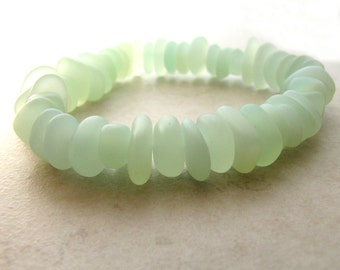 Seaglass Sea Glass Bracelet Mint Green Sea Foam Custom Size BellinaCreations Bellina Creation SME8
