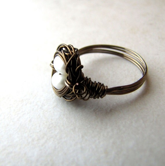 Birds Nest Ring White Pearl Eggs Hummingbird Nest Bronze Wire Wrapped Size 6 BellinaCreations