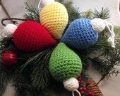 Crochet Christmas Old Fashioned Light Bulb Ornament
