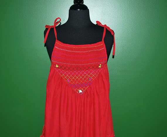 Vintage 70s Red Embroidered Mexican Sun Dress Tent