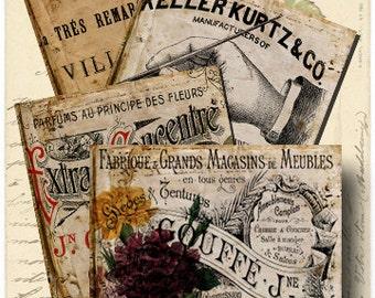 Vintage ads digital collage-Coaster images-Instant download-Printable collage- Digital download- 4 x 4 inch squares- BUY 3 get 1 FREE