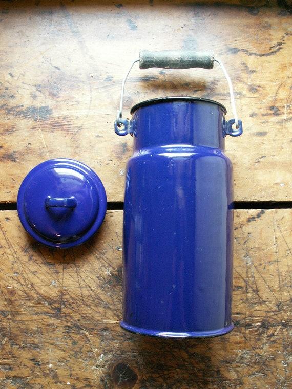 Vintage Cobalt Blue Enamelware Milk Jug with Wood Handle