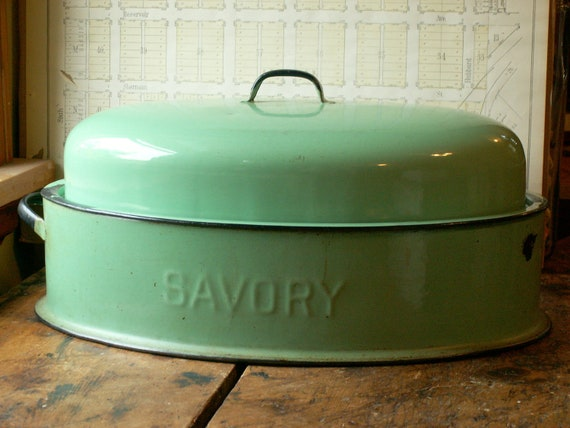 Reserved for Julie - Vintage Large Mint Green Savory Roasting Pan